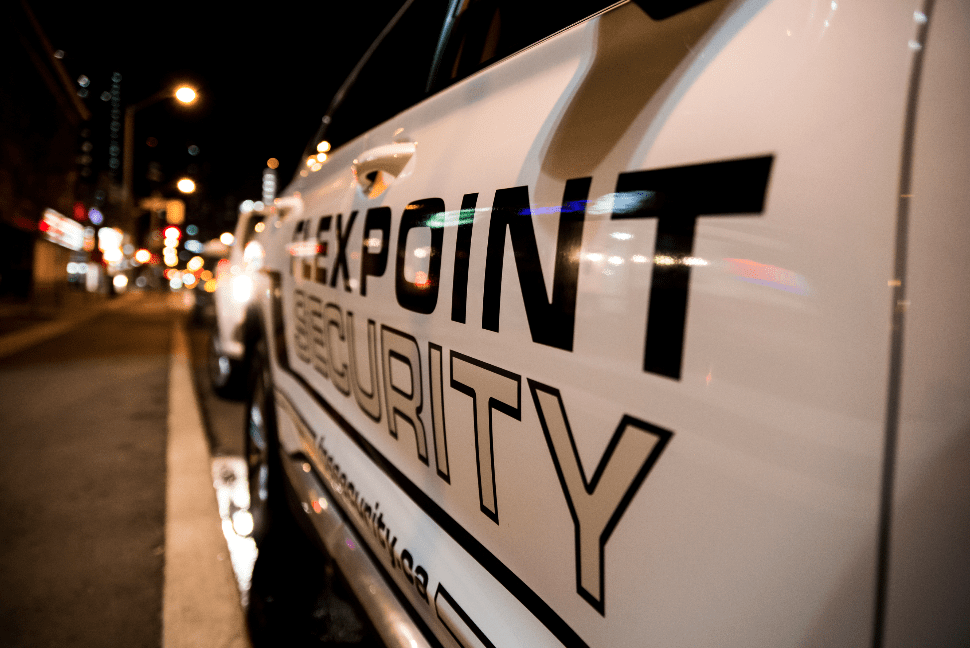 Flex Point Security company vehicle used to provide mobile patrol security services parked in the Greater Toronto Area
