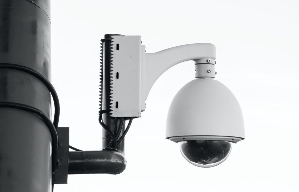 Close up of a closed-circuit television (CCTV) camera